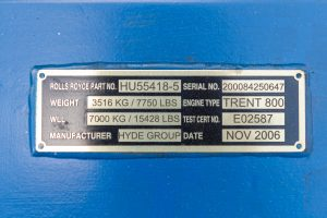 Trent 800 Hydro Air Freight serial number