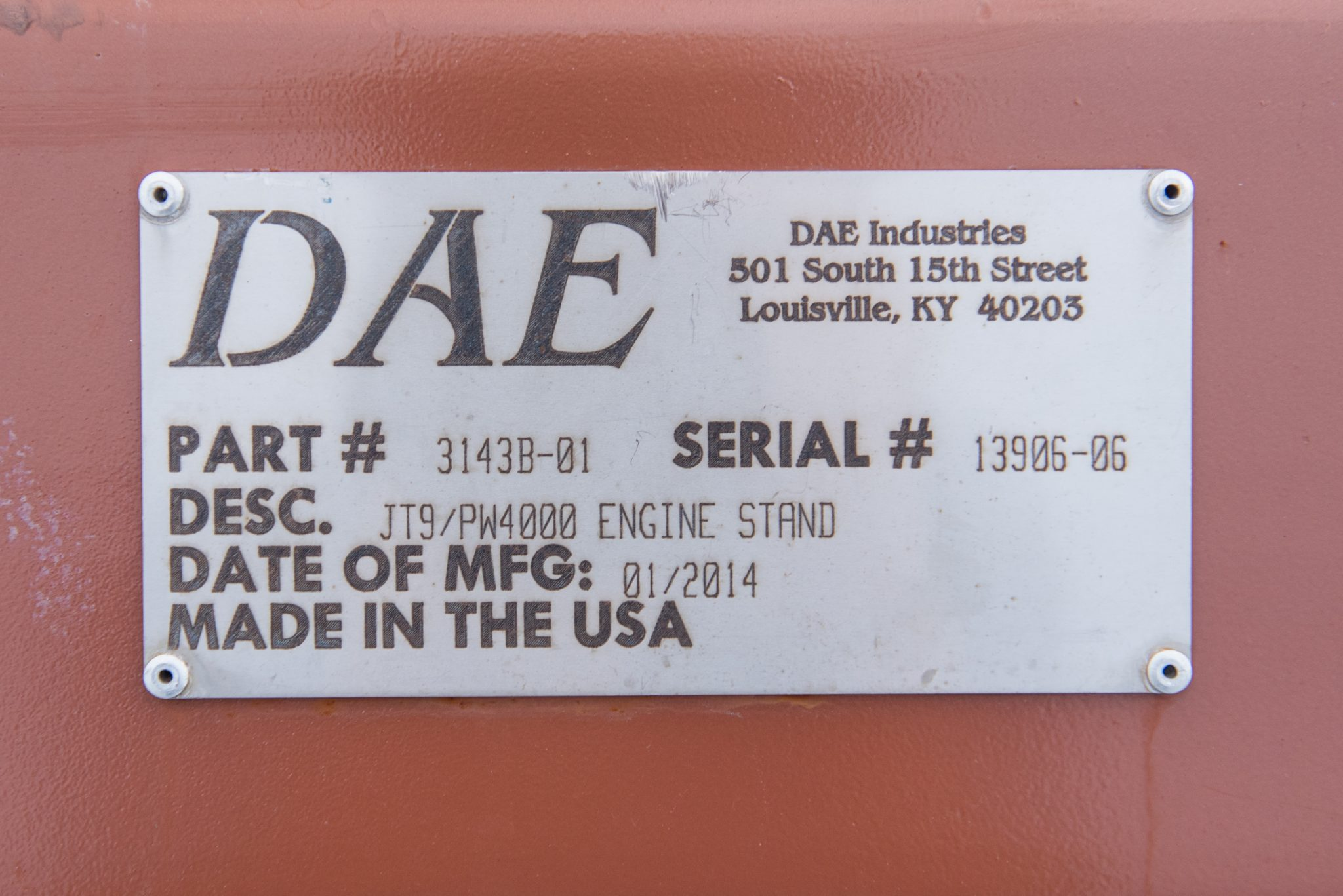 PW4000-JT9D DAE serial number