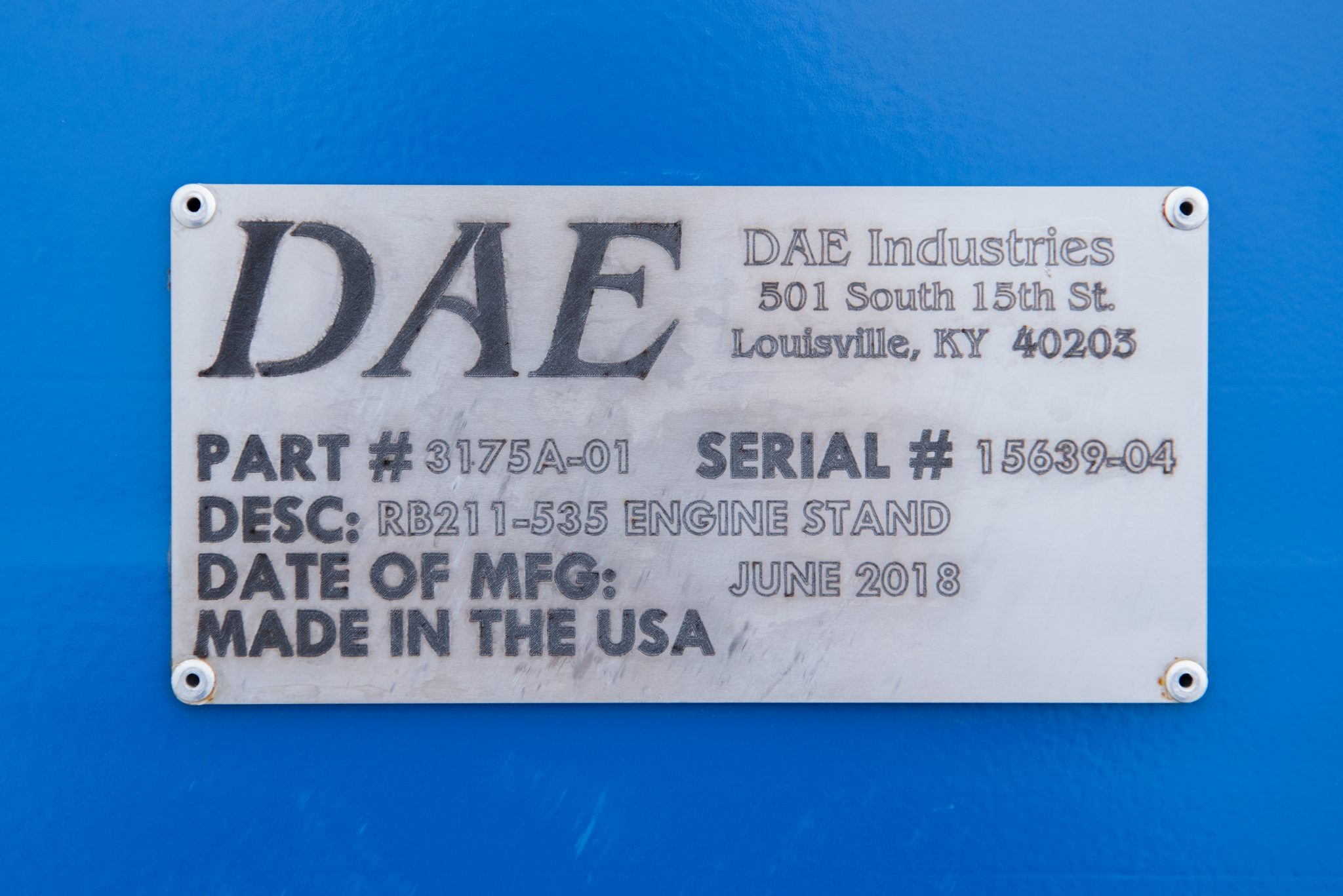RB211-535 DAE serial number